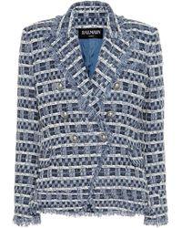 Balmain Tweed Double-breasted Blazer - Blue