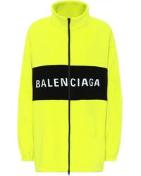 Balenciaga Oversized Zipped Logo Jacket - Yellow