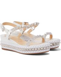 Christian Louboutin Pyraclou 60 Embellished Leather Sandals - White