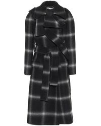 Stella McCartney Cappotto a quadri in lana - Nero