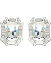 Alessandra Rich Crystal Clip-on Earrings - White