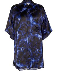 Vetements Skull-print Satin Shirt - Blue