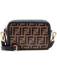Fendi Mini Camera Case Leather Shoulder Bag - Black
