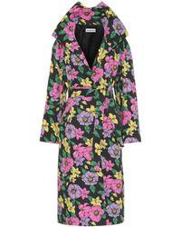 Balenciaga Floral Cotton-drill Trench Coat - Black