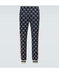 Gucci Pantalone da jogging con motivo GG jacquard - Blu