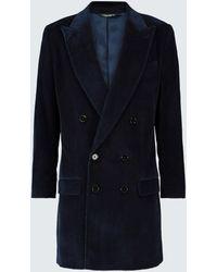 Dolce & Gabbana Zweireihiger Mantel aus Baumwollcord - Blau