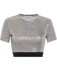 Paco Rabanne Top cropped in lamé - Multicolore