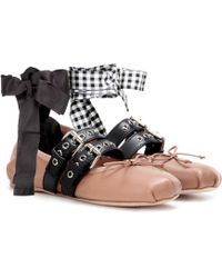 Miu Miu - Buckle-embellished Leather Ballerinas - Lyst