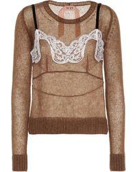 N°21 Mohair And Wool-blend Jumper - Brown