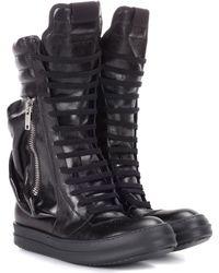 Rick Owens Leather Combat Boots - Black