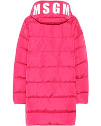 MSGM Quilted Down Coat - Pink