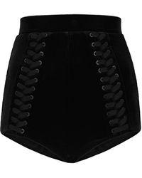 Alex Perry Nixon High-rise Velvet Shorts - Black