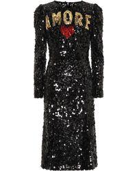 Dolce & Gabbana - Sequined Midi Dress - Lyst