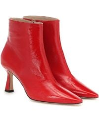 Wandler Lina Leather Ankle Boots - Red