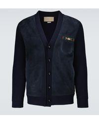 Gucci Cardigan in lana Horsebit - Blu