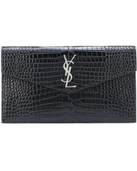 Saint Laurent Clutch Uptown in pelle stampata - Nero
