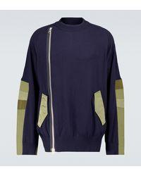 Sacai Knitted Blouson Jacket - Blue