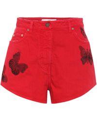 Valentino Embroidered Cotton-denim Shorts