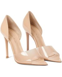 Gianvito Rossi Bree Leather And Pvc Peep-toe Pumps - Natural