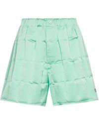 Coperni Shorts de satén de cuadros - Verde