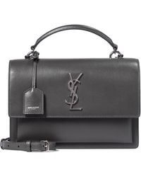 Saint Laurent Sunset Monogram Medium Leather Shoulder Bag - Grey