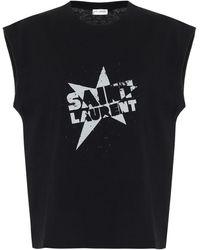 Saint Laurent Bedrucktes T-Shirt aus Baumwolle - Schwarz