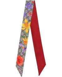 Gucci GG Flora Silk Neck Tie - Red