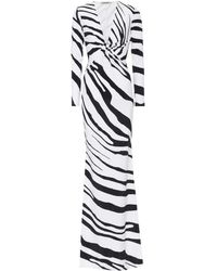 Roberto Cavalli Zebra-printed Stretch Jersey Gown - Multicolour