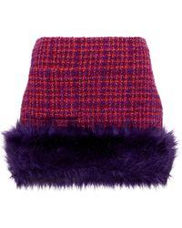 Saint Laurent Mini-jupe en tweed et fourrure synthétique - Rose