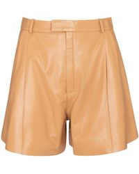 Zeynep Arcay High-rise Pleated Leather Shorts - Natural