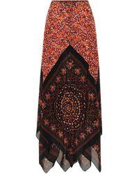 Altuzarra Hance Floral Silk Maxi Skirt - Red