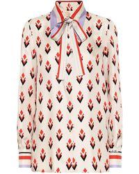Valentino Bedruckte Bluse aus Seiden-Twill - Mehrfarbig
