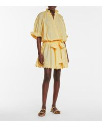 Juliet Dunn Embroidered Cotton Minidress - Yellow