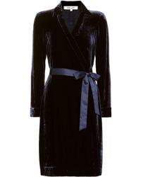 Diane von Furstenberg New Jeanne Velvet Wrap Dress - Black