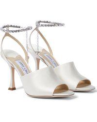 Jimmy Choo Sae 90 Embellished Satin Sandals - White