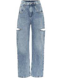 Maison Margiela High-Rise Jeans mit weitem Bein - Blau