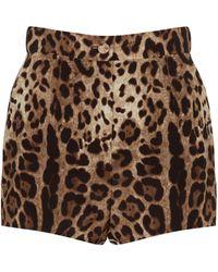 Dolce & Gabbana Short en crêpe de soie à motif léopard - Neutre