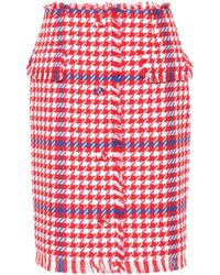 MSGM Short Tweed Skirt - Red
