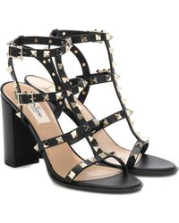 Valentino - Rockstud Cage Leather Sandals - Lyst