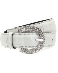 Alessandra Rich Embellished Leather Belt - Grey