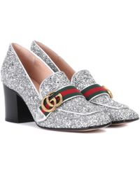 dd2471257b19 Gucci - Glitter Loafer Pumps - Lyst. Gucci - Embellished Metallic ...