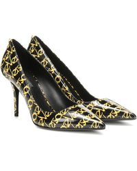 Versace 110mm Logo Patent Leather Court Shoes - Black