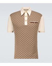Gucci Polohemd GG aus Seide und Baumwoll-Jacquard - Natur
