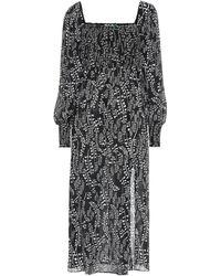 RIXO London Marie Shirred Printed Voile Midi Dress - Black