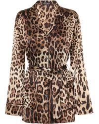 Dolce & Gabbana - Leopard-print Stretch-silk Satin Top - Lyst