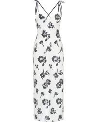 Self-Portrait Sequinned Floral Dress - White