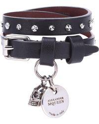 Alexander McQueen Verziertes Armband aus Leder - Schwarz