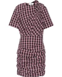 Étoile Isabel Marant Oria Draped Plaid Cotton Dress - Purple