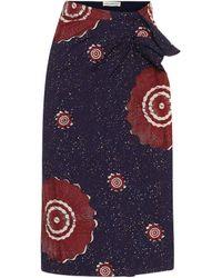 Ulla Johnson Ember Printed Cotton Midi Skirt - Blue