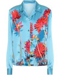 Dries Van Noten Floral Silk-satin Shirt - Blue